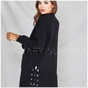 BLACK LONG LACE UP SWEATER KNIT CARDIGAN
